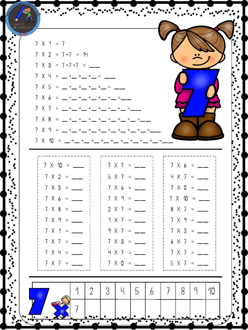 Hojas para repasar las tablas de multiplicar (6) - Imagenes Educativas