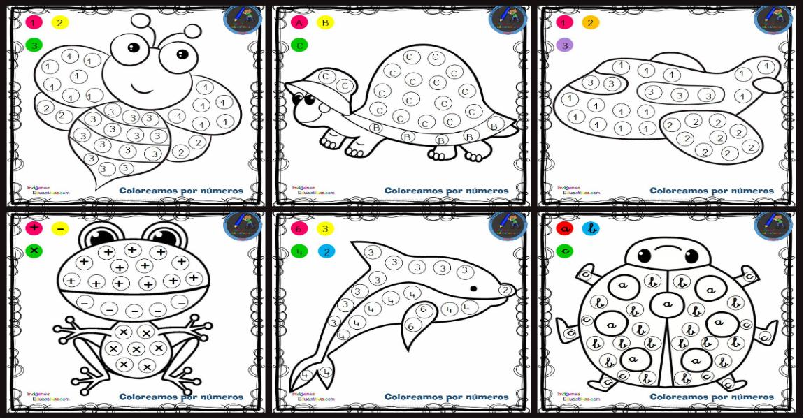 Fichas Para Colorear Por Letras Numeros Y Simbolos Imagenes