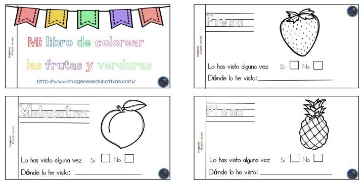 Mini Cuaderno Para Colorear Frutas Y Verduras Imagenes Educativas