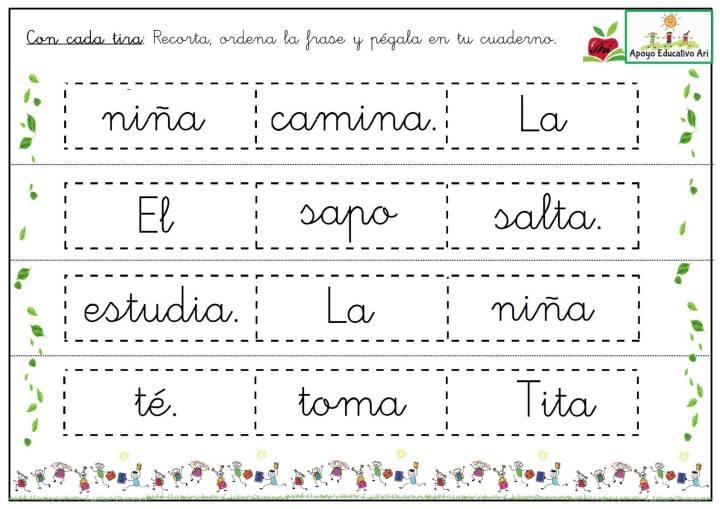 Frases Cortas Para Recortar Ordenar Y Pegar En El Cuaderno