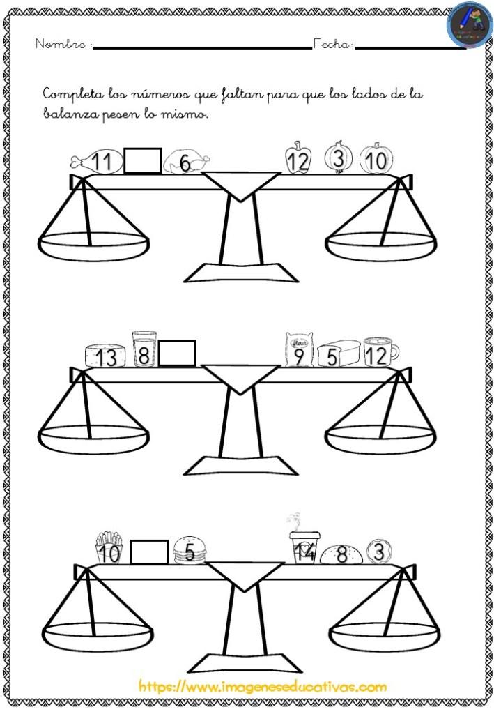 Fichas Matemáticas Pirámides Y Balanzas Imagenes Educativas
