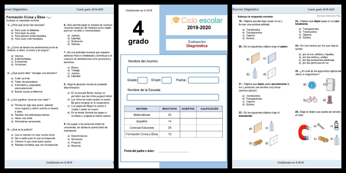 Examen Diagnostico Cuarto Grado 2019 2020 Imagenes Educativas