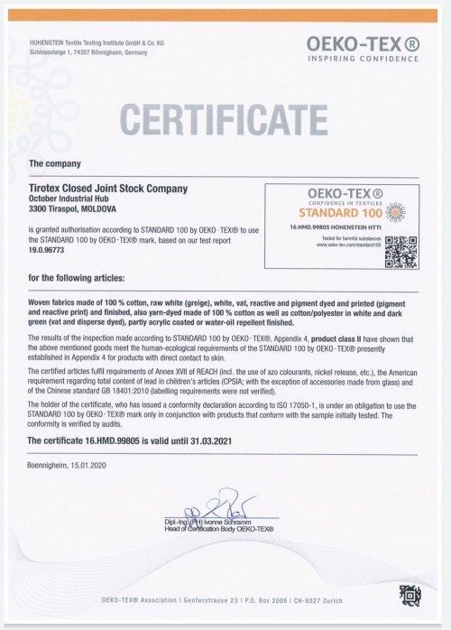 Certificazione cotone cotone Oeko Tex 100 standard