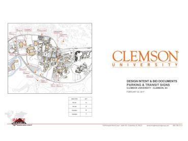 Clemson University – Clemson, SC  Design Intent & Bid Documents  Parking & Transit Signs