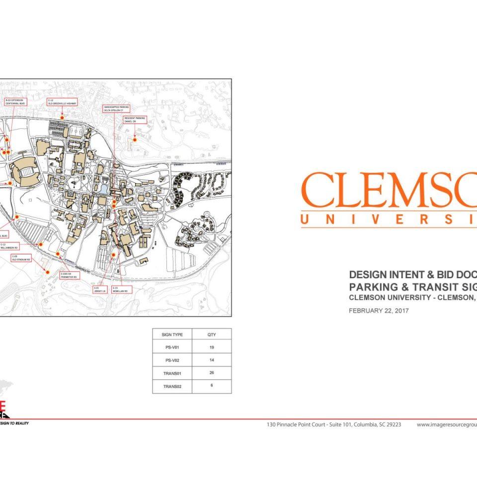 Clemson University – Design Intent & Bid Documents  Parking & Transit Signs