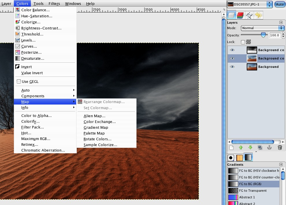 Gradient Map - Colors --> Map --> Gradient Map