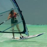 Claudia windsurfing Bonaire
