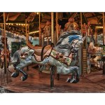 bryant park, carousel, horse, vintage, old, hdr