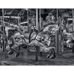 bryant park, carousel, horse, vintage, old, hdr, black & white