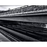 Whippany, river, bridge, lines, abstract, black & white
