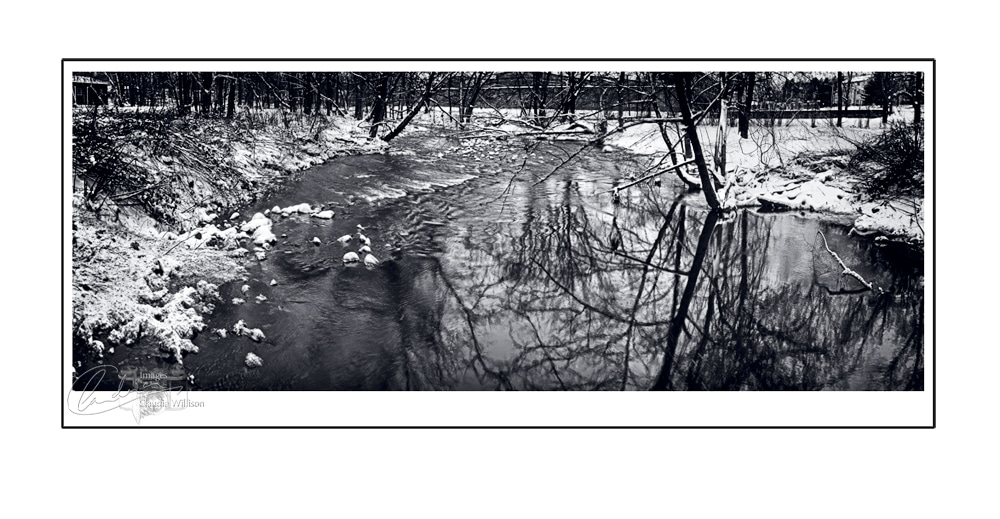 Whippany, river, ice, snow, black & white
