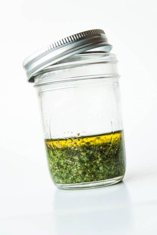 Pesto jar glass olive oil