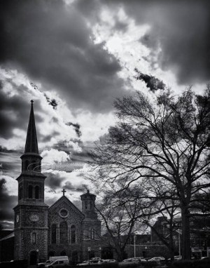 Morristown, Green, clouds, church