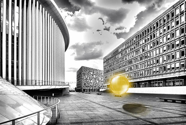 orb, yellow, black, white, luxemburg, architecture, hdr