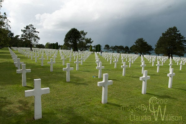 cemetery, white cross, Arromanches Les Bains, Normandy France, dday