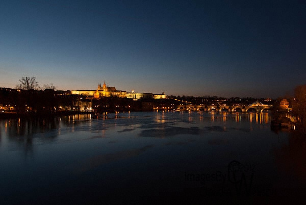 prague, old town, charles Bridge, Castle, night