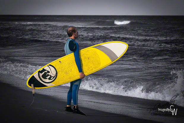 yellow, surfboard, surfer, ocean, waves, beach