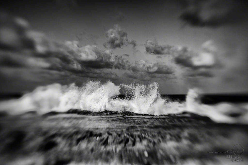 waves, clouds, lensbaby