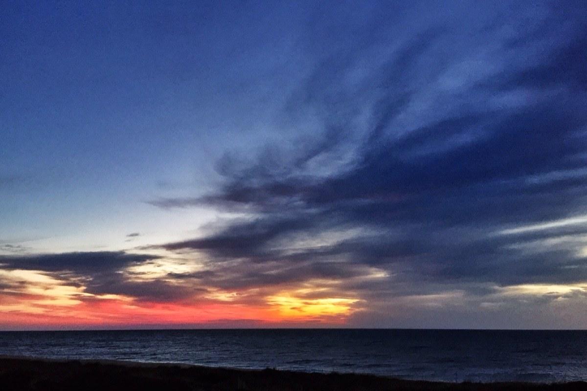 sunrise, ocean, drama
