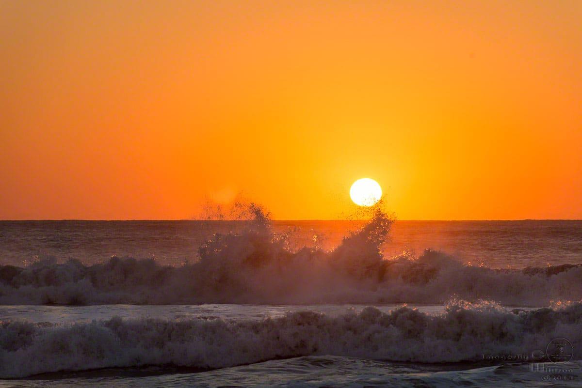 sunrise, waves