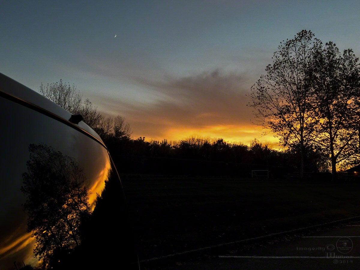 autumn, sunset, reflection