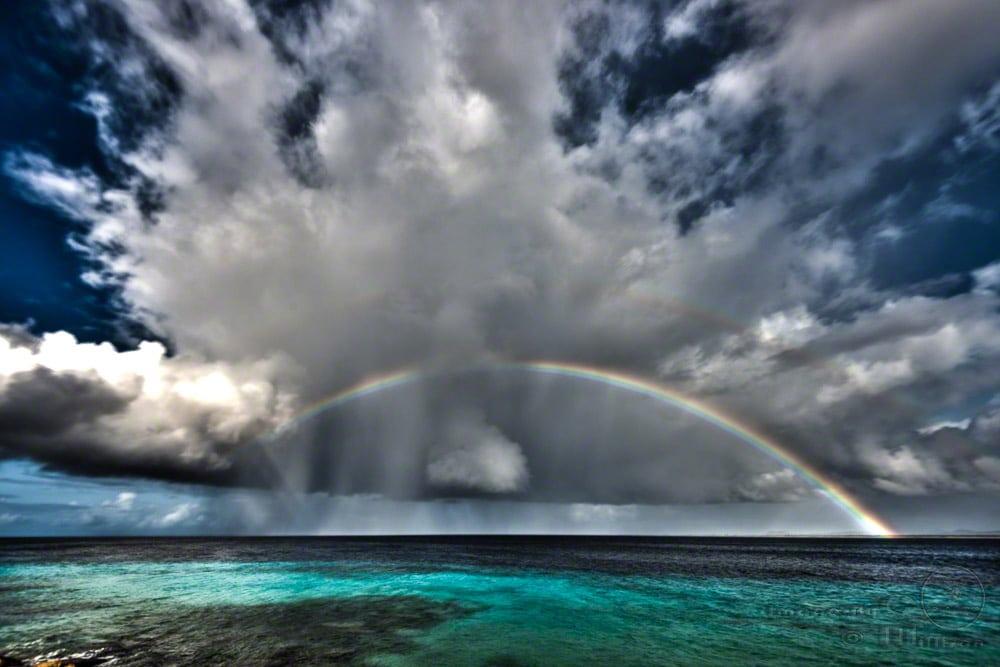 rainbow, bonaire, caribbean, clouds, hdr