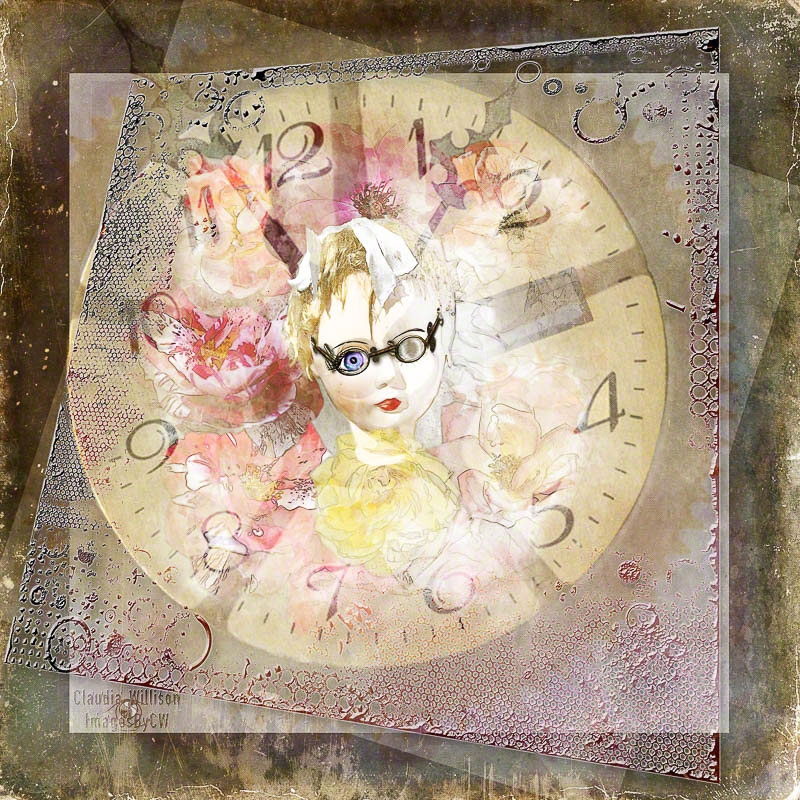 rose, doll, grunge, clock, time
