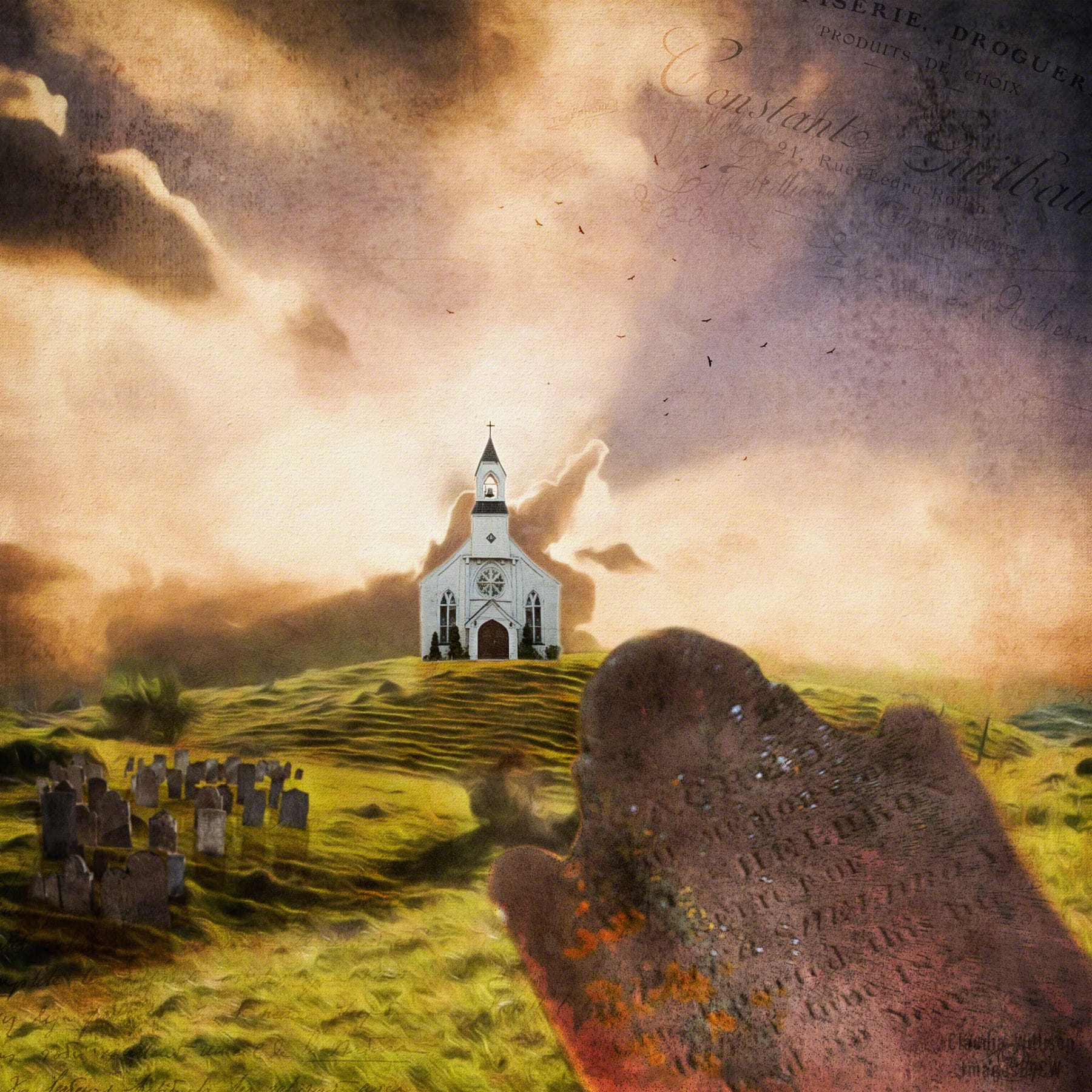 church, graveyard, sunset