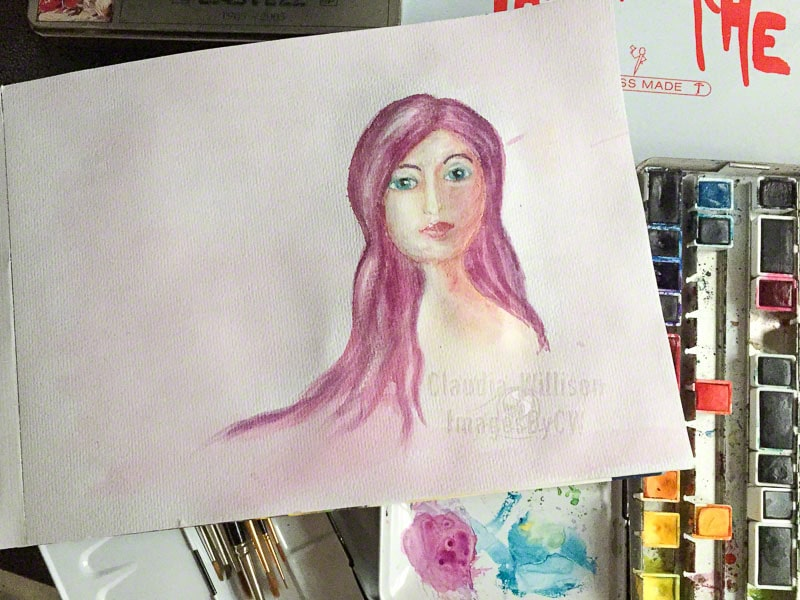watercolor, painting, purple, lady