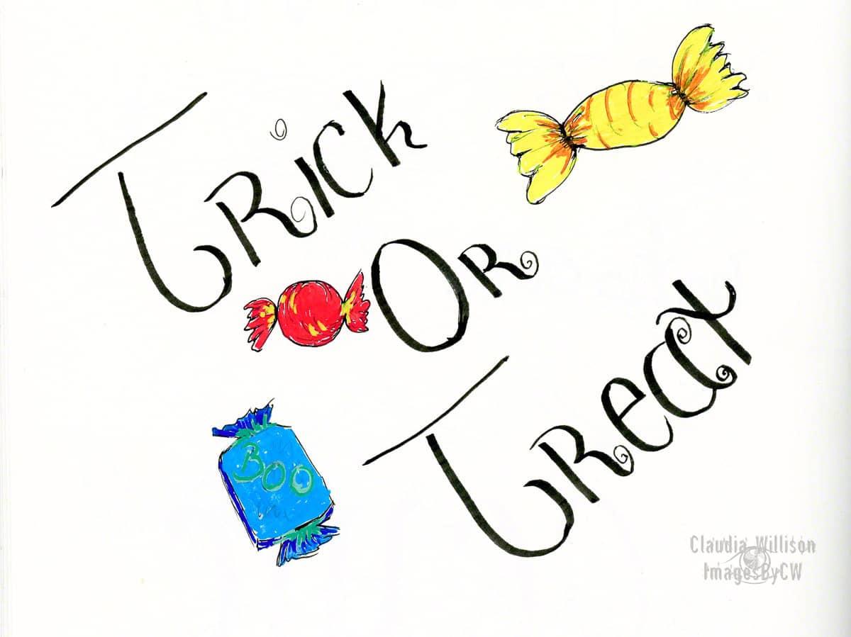 halloween, illustration, trick, treat