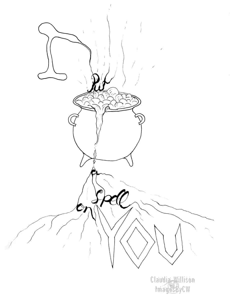 halloween, illustration, cauldron, spell