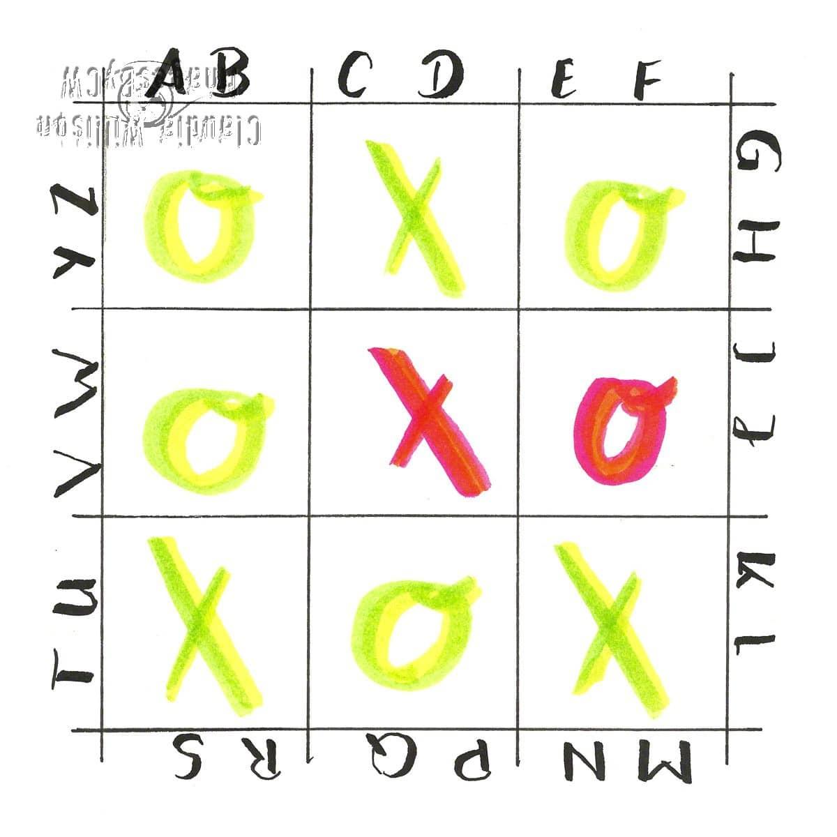 xoxo, tic tac toe, lettering