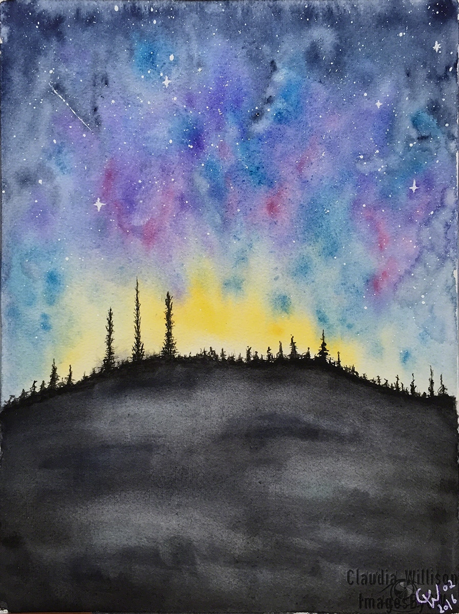 watercolor painting starry night