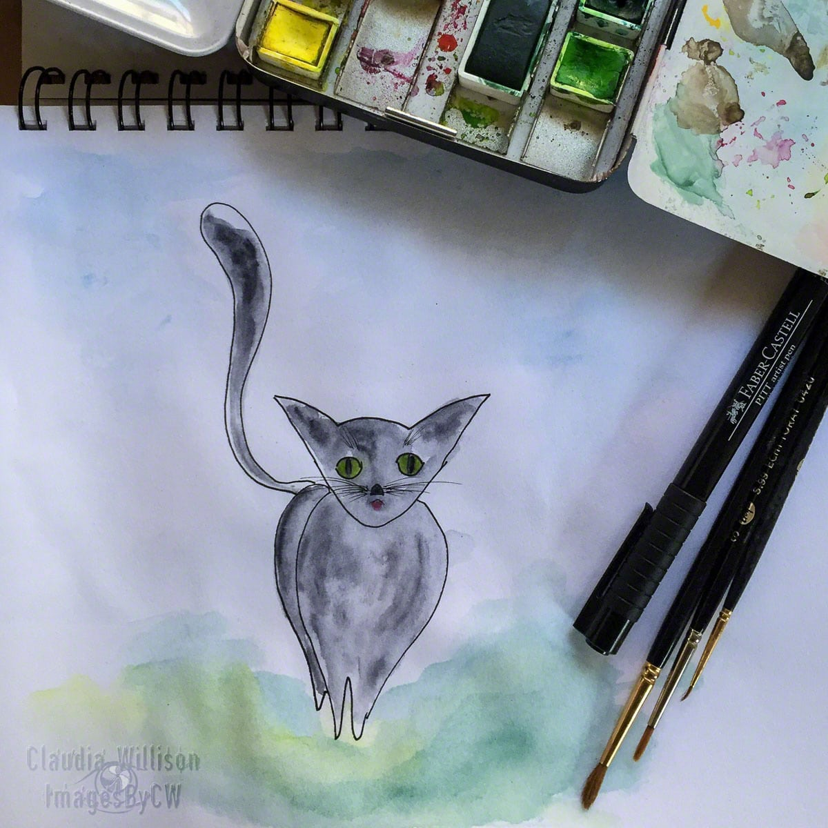 cat, illustration, watercolor