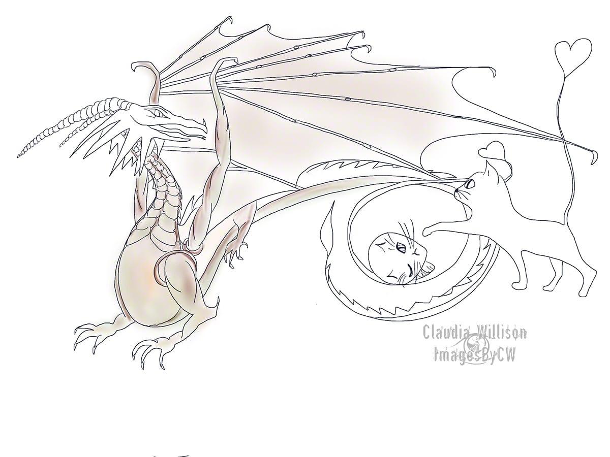dragon, digital, drawing