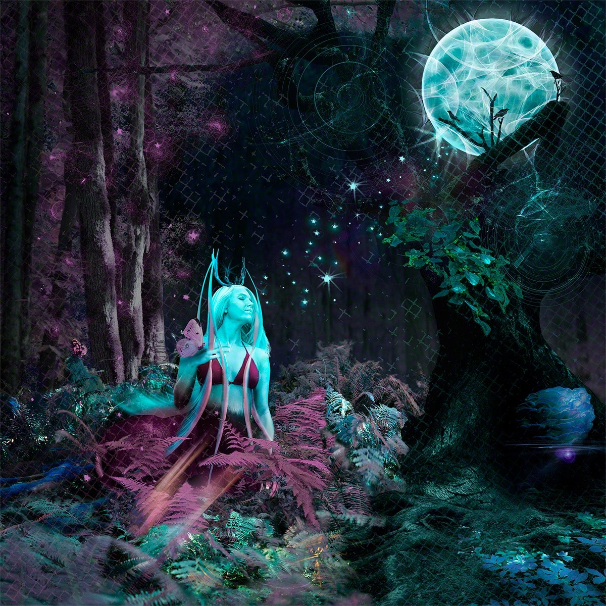 moon, photoshop, fantasy, deer
