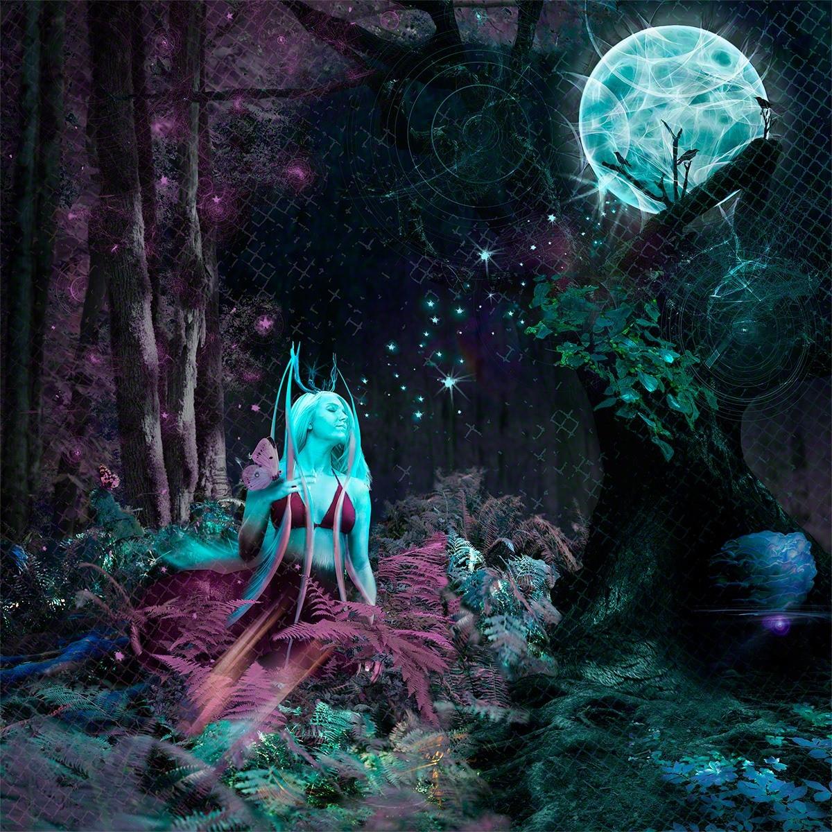 moon, photoshop, fantasy, deer
