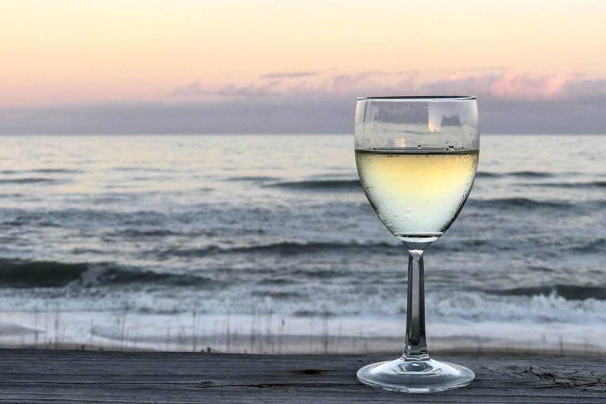 wine, glass, beach, waves