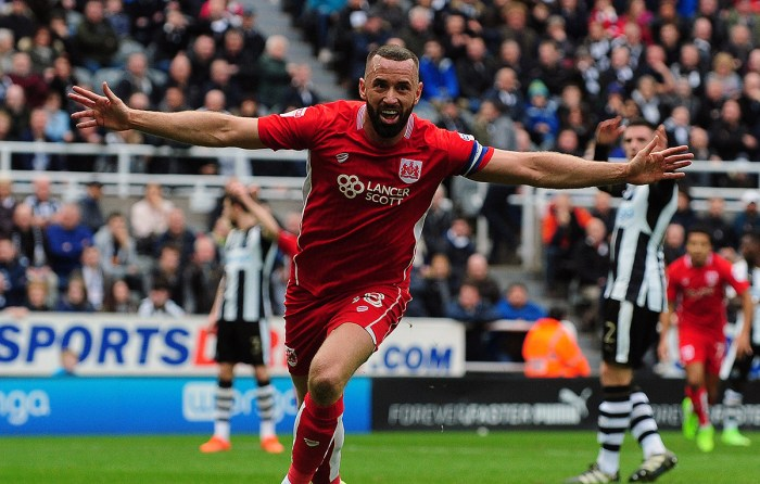 Aaron Wilbraham of Bristol City celebrates scoring the opening goal of the game during Newcastle United vs Bristol City, Sky Bet EFL Championship Football at St. James' Park on 25th February 2017
