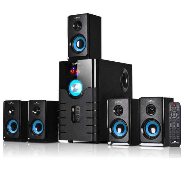 Befree Sound 5.1 Channel Surround Bluetooth Speaker System Blue Bfs-500