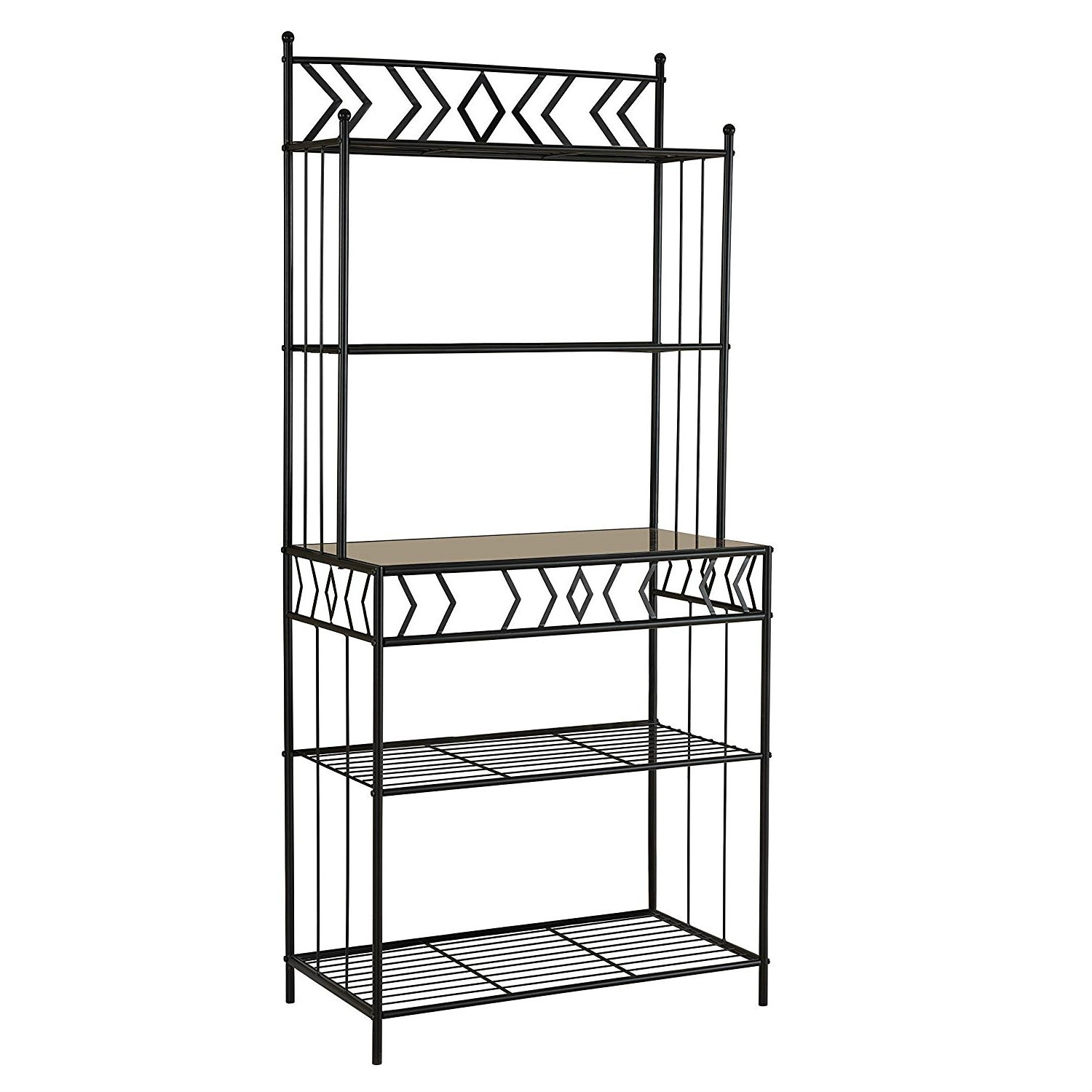 kitchen bakers rack in black metal with marble finish top activehomedecor