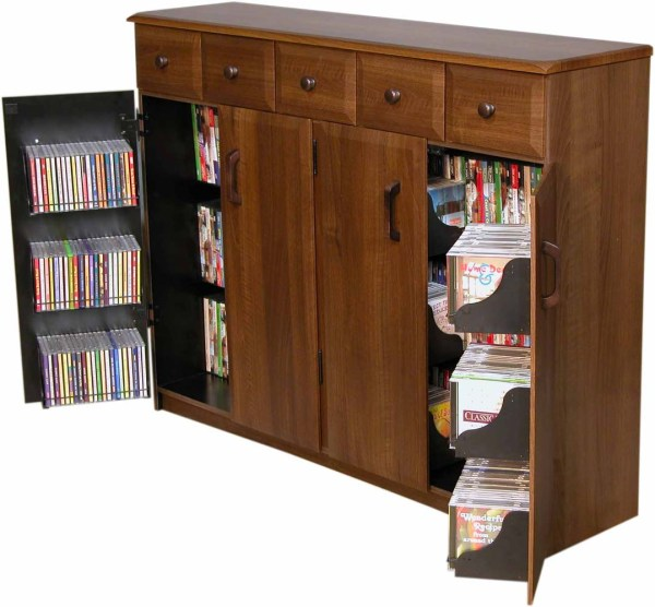 Cd Dvd Storage Cabinet Rack Tv Stand With Drawers