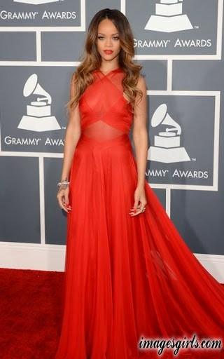 rihanna wear in red color long sleeveless dress