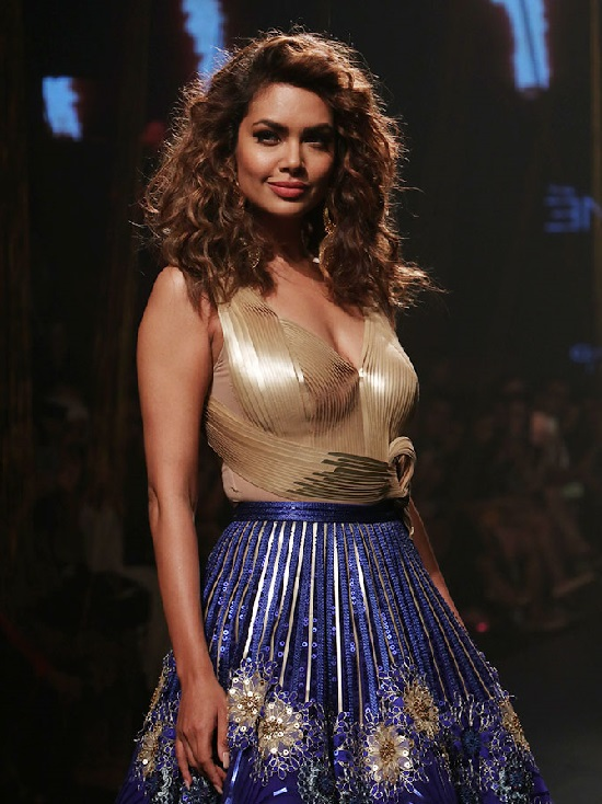 Esha Gupta Hot Photos in Gold Top with Blue Lehenga