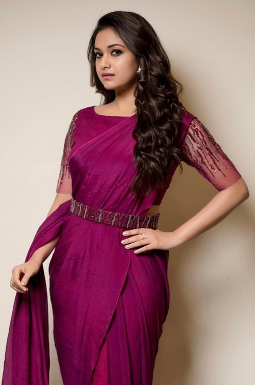 Keerthy Suresh Latest Pictures in Purple Saree