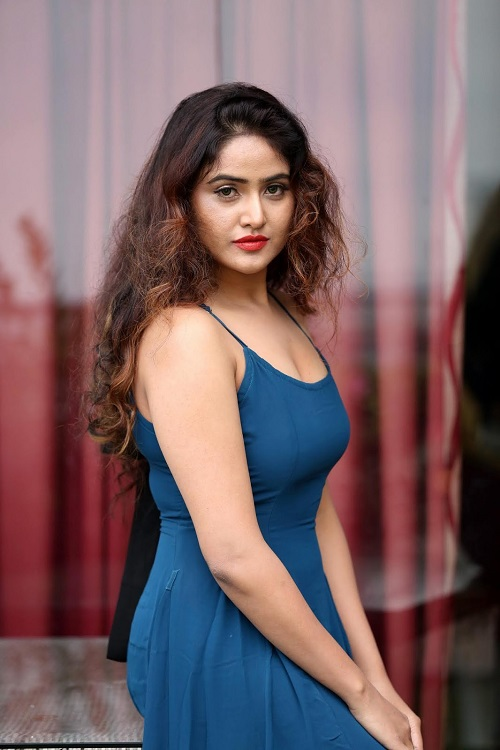 Soni Charista sexy Photo Shoot In Blue Sleeveless Gown