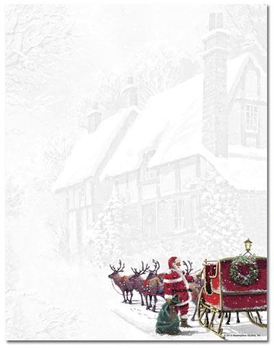 Christmas Stationery  Santas Sleigh Letterhead