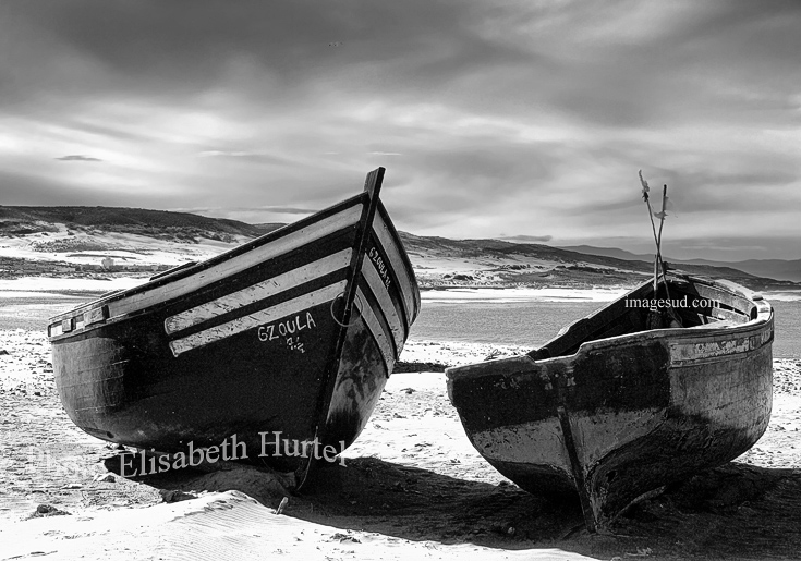 Two fishing boats on the beach