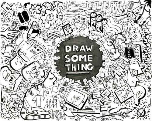 """DRAW SOMETHING"" by ImageThinker, Virginia Montgomery, and fellow IFVP Graphic Recorders: Heather Martinez, Melinda Walker, Brian Tarallo, Anke Averdunk"