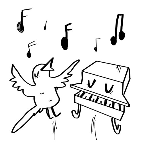 """""""A sparrow rejoicing with a piano"""" by Virginia Montgomery"""